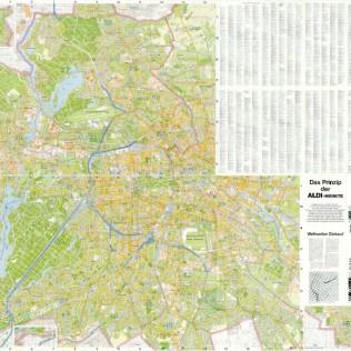 Berlin 1985, Stadtplan Berlin (West) mit Aldi Filialen, Schwarz, Stp 1985-1